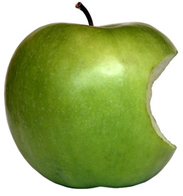 Eaten green apple which resembles Apple's logo