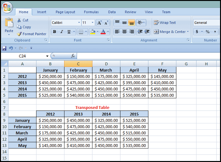 Microsoft Excel transposed table