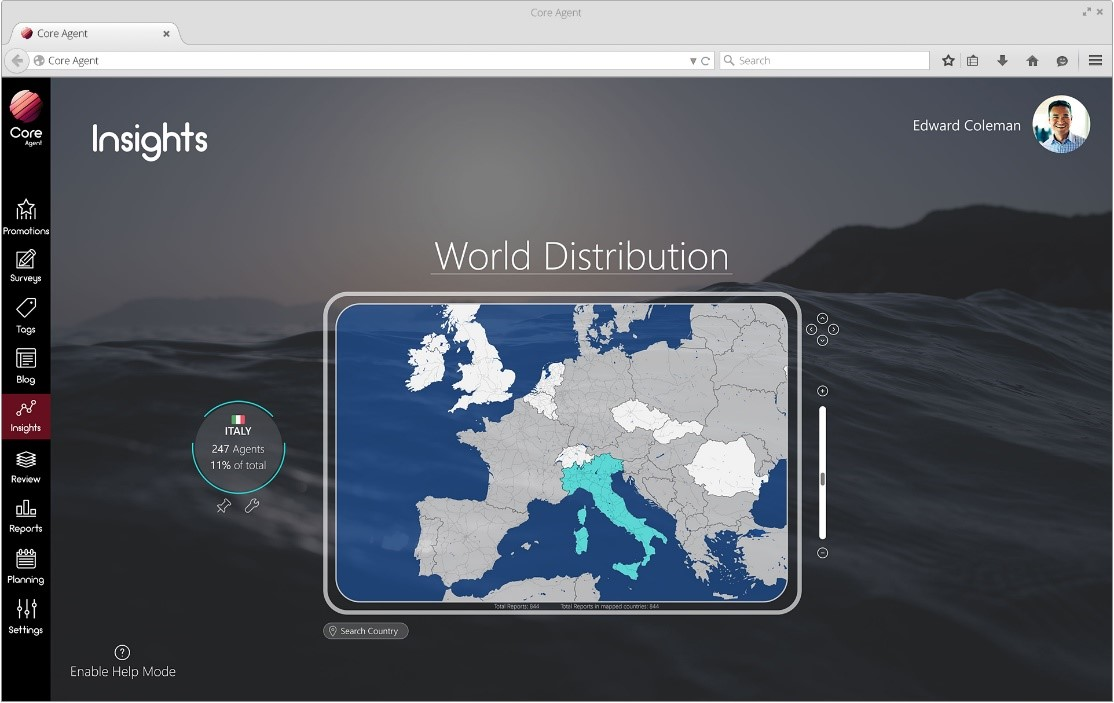 Core Agent world distribution page